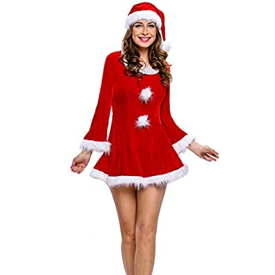 Ruimeier Women Santa Costume Christmas Dress With Santa Hat A027