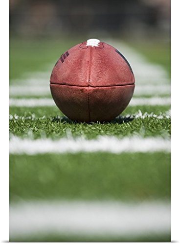 Football Yard Line Markers (Great BIG Canvas Poster Print entitled Close up of football on yard line)