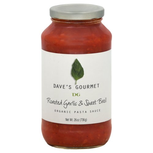 Daves Organic Roasted Garlic and Sweet Basil Pasta Sauce, 25.5 Ounce -- 6 per (Daves Olives)