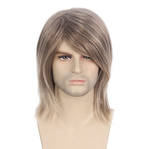 STfantasy Mens Wig Male Guy Mid Length Long Straight Cosplay Party Hair Toupee 16