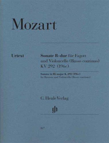 Sonate K292 (196c) Sib Majeur -Pour 1 ou 2 basse et piano --- Violoncelle(ou Basson)/Piano (Allemand) Partition – 1 janvier 2009 Mozart Wa Henle Verlag B0010A5PHC Musikalien