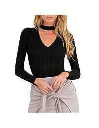 FUNOC Women Ribbe Choker Long Sleeve Knit Slim Sweater Jumper Tops Knitwear