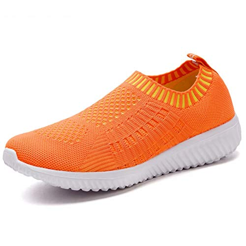 konhill Women's Lightweight Casual Walking Athletic Shoes Breathable Mesh Work Slip-on Sneakers 7.5 US Orange,38