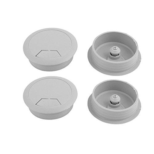 "uxcell 2"" Dia Gray Plastic Grommet 4 Pcs for Computer Desk"