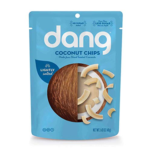 DANG Keto Toasted Coconut Chips | Lightly Salted Unsweetened | 12 Pack | Keto Certified, Vegan, Gluten Free, Paleo Friendly, Non Gmo, Healthy Snacks Made With Whole Foods | 1.43 Oz Resealable Bags