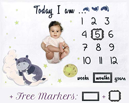 Baby Monthly Milestone Blanket for Boy Girl|Large & Soft Fleece|Markers Included| Baby Gifts for Newborn Boys |Baby Shower Gifts for New Mom|Watch Me Grow Photo Prop Blanket|Baby Blanket with - Fleece Hippo