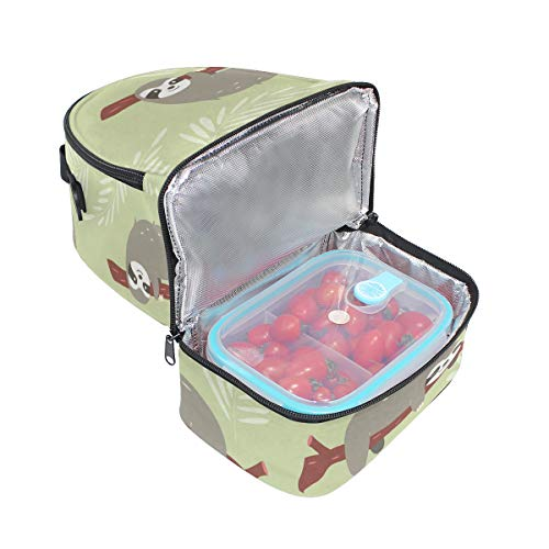 isotherme Boîte manches pour Sac avec à bandoulière lunch à Imprimé réglable l'école Tote Folpply avec Pincnic mignon paresseux Cooler wXxtSqHzH