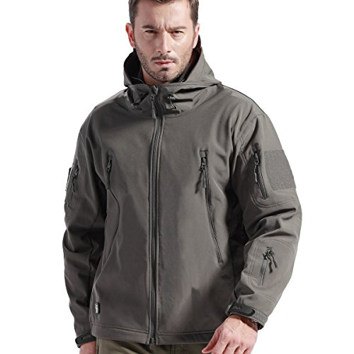 Windproof Water Repellent - FREE SOLDIER Tactical Jacket Soft Shell Fleece Lined Water Repellent Coat Windproof Outwear Camouflage Jacket(Gray M)