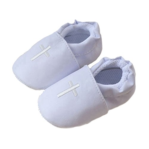 LIDIANO Baby Infant Boys Girls PU Leather Uppers Christening Baptism Non Slip Toddler Crib Shoes Slipper (11-16 Months)