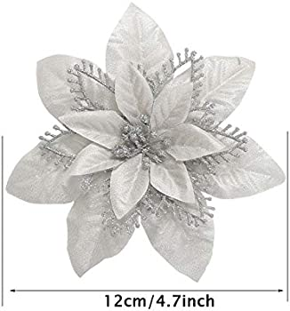 15cm//5.9/'/' Gold with 12 Pcs Clips Artificial Poinsettia Flowers Christmas Tree Flower Decorations Xmas Tree Ornaments GL-Turelfies 12 Pcs Glitter Christmas Flowers