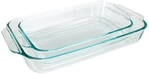 2 Piece Value-plus Pack Set Pyrex Basics Clear Oblong Glass Baking Dishes 1