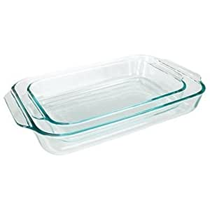 Pyrex Basics Clear Oblong Glass Baking Dishes, 2 Piece Value-plus Pack Set