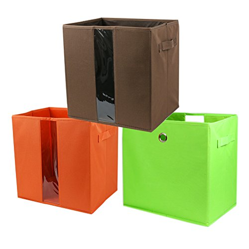 The Elixir Eco Green Dual Handle Storage Cubes - Set of 3 Orange Green Brown Container Bins Organizer Basket Boxes
