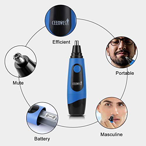 Ceenwes Nose Hair Trimmer Professional Mute Painless Trimming Nose Ear Hair Trimmer Suitable to Men and Women Battery-Operated Personal Care Nose Trimmer with LED Light Easy to Clean