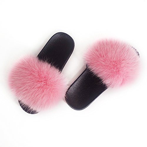 (Manka Vesa Women Winter Real Fox Fur Feather Vegan Leather Open Toe Single Strap Slip On Sandals Pink)