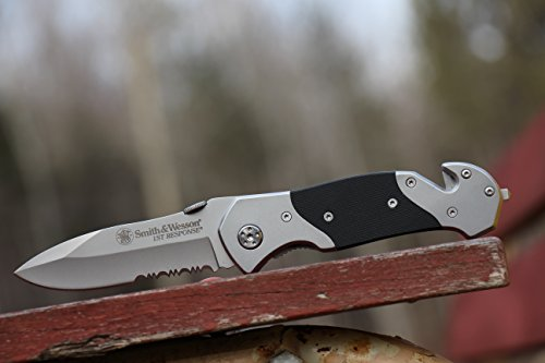 Smith & Wesson SWFRS 8in Stainless Steel Folding Knife with 3.3in Drop Point Serrated Blade and S.S. with G-10 Inlay Handle for Outdoor Tactical Survival and Everyday Carry by Smith & Wesson (Image #4)