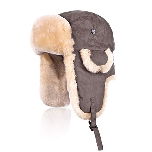 IKEPOD Shearling Sheepskin Aviator Russian Ushanka Winter Hunting Trapper Hat