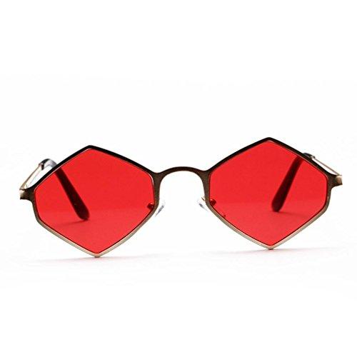 UV Rouge hexagonale Malloom monture femme en métal Lunettes à de soleil Lunettes pour dTTwx7U