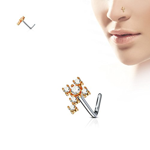 blue palm body jewelry CZ Cross 316L Surgical Steel L Bend Nose Stud Rings Nose Stud Rings Nose Studs Bones Stainless Steel Rings N84 (Rose Gold Ion) (Nose Cross Stud)