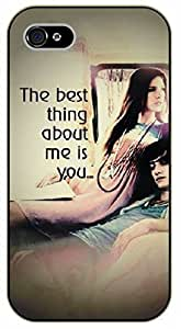 iPhone 4 / 4s The best thing about me is you. Love - black plastic case / Inspirational and motivational