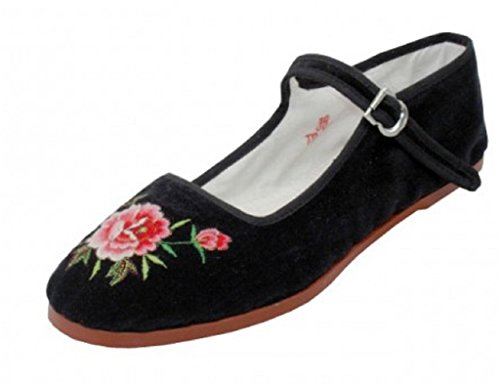 Shoes 18 Womens Cotton China Doll Mary Jane Shoes Ballerina Ballet Flats 118 Black Emb 9 ()
