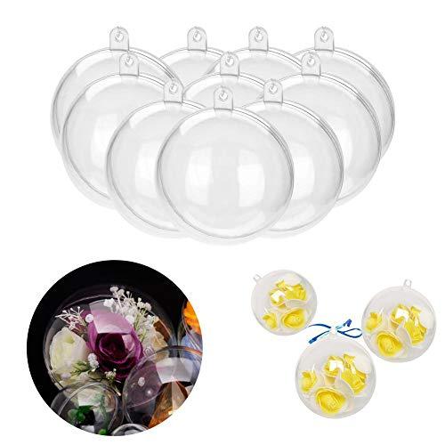 20 piezas de plástico transparente bola rellenable boda Navidad cumpleaños adornos de decoración, ambiente cálido,...