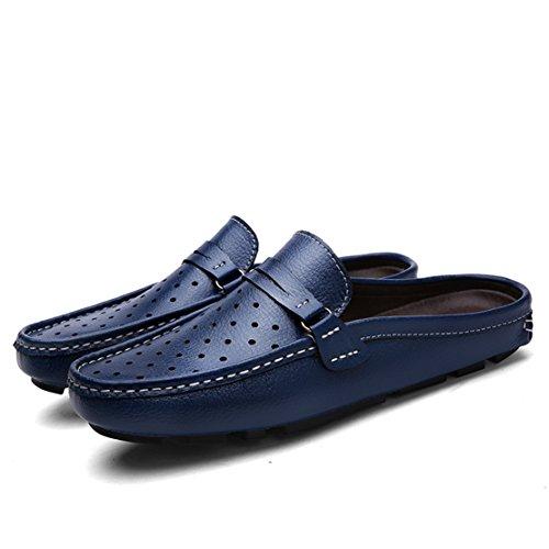 Andare Tour Mens Comode Pantofole In Morbida Pelle Scamosciata Slip-on Per Scarpe Blu