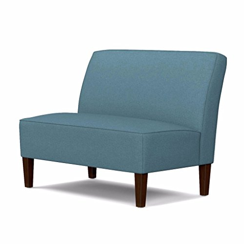 Blue Polyester Armless Loveseat with Sinuous Springs and Wood Legs Includes Custom Mouse Pad