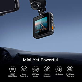 APEMAN Mini Dash Cam 1080P Full HD Dash Camera for Cars Recorder Super Night Vision, 170° Wide Angle, Motion Detection, Parking Monitoring, G-Sensor, Loop Recording