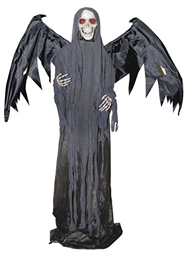 The Gothic Collection Lifesize Animated Winged Skeleton Reaper Halloween Standing Prop Decoration -