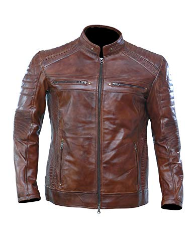 (Artistry Leather Brown Leather Jacket Men for Bikers | Genuine Lambskin Waxed Cafe Racer Vintage Motorcycle Jackets (XXX-Large (Body Chest 48
