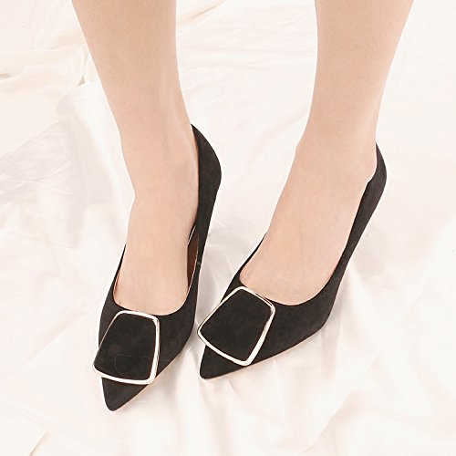 Of High Fine Metal A Ties Tip Party Light The Velvet Work Shoes With In Single The Heeled Shoes Shoe KPHY 7Cm Black Girl Spring Yq4dFFw