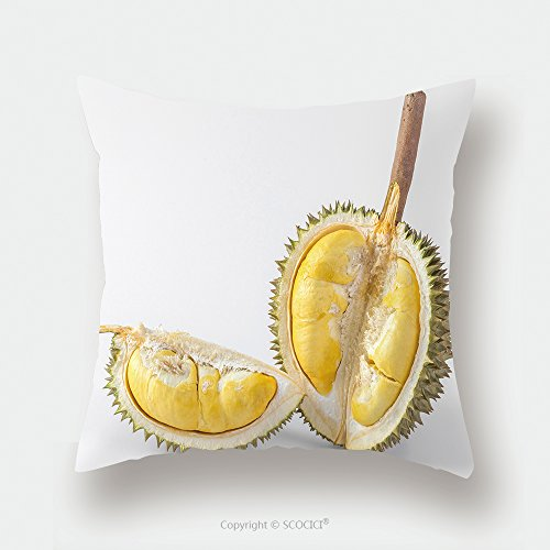 Custom Satin Pillowcase Protector Thai Durian Portion Isolated On White Background 135500471 Pillow Case Covers Decorative by chaoran