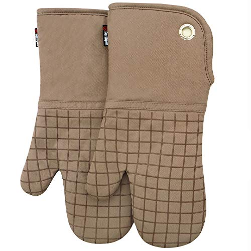 Mitt Tan Oven - Silicone Groment Oven Mitts with Heat Resistant Non-Slip Set of 2, Cotton Quilting Lining, Oven Gloves and Pot Holders Kitchen Set for BBQ Cooking Baking, Grilling, Barbecue, Machine Washable Tan-T