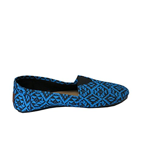Easy USA Womens Canvas Slip on Shoes Flats Diamond Blue