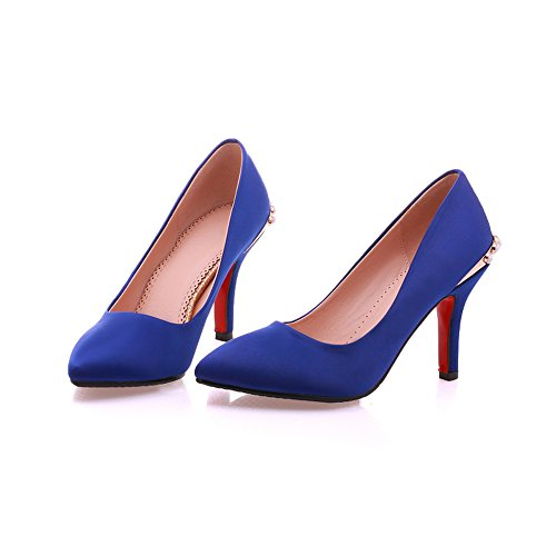 Balamasa Ladies Metal OrnaHombresto Adorno Europeo Estilo Suave Material Bombas-zapatos Azul