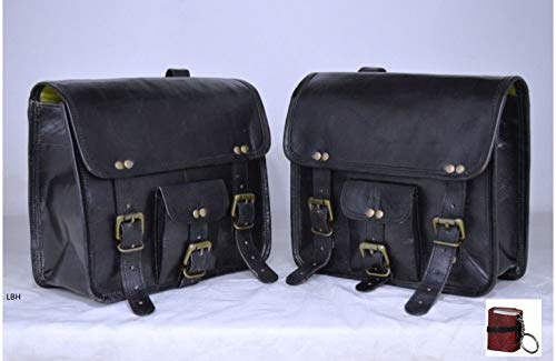 LBH 2 X Motorcycle Side Pouch Black Leather Side Pouch Saddlebags Saddle Panniers (2 Bags) with free Keychain