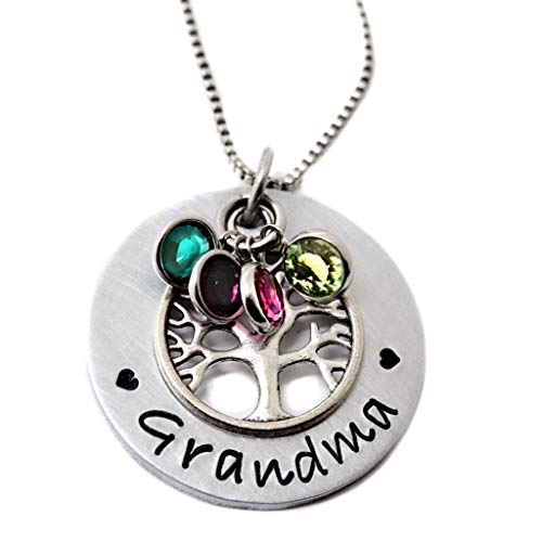 Personalized Family Tree Grandma Necklace, Custom Grandmother's Birthstone Jewelry, Gift for Nana