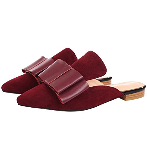Backless Dark On Mavirs Mule Embellished for Women Bow Slippers Suede Womens Loafers Slip Loafers Loafers Red xSRY6SqB