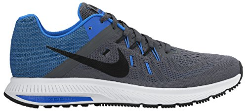 Nike Zoom Winflo 2, Zapatillas de Running para Hombre Gris / Negro / Azul / Blanco (Dark Grey/Black-Soar-White)