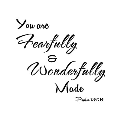 You Are Fearfully and Wonderfully Made Psalm 139:14 Home Bedroom Mural DIY Quote Saying Inspirational Vinyl Wall Sticker Decals Transfer Removable Words Lettering Uplifting