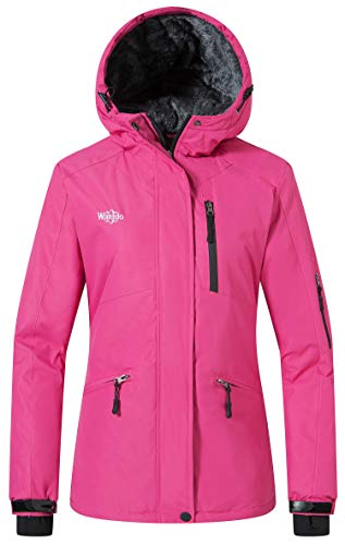 Wantdo Women's Winter Ski Jacket Hooded Mountain Waterproof Rainwear Windproof Winter Coat for Snowboarding(Rose Red