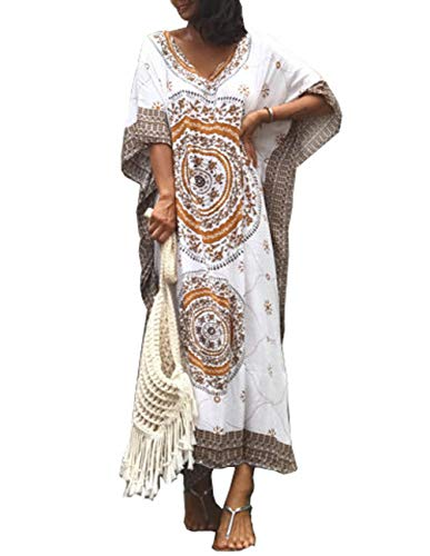 Caftan Ethnic - Women Bathing Suits Cover Up Ethnic Print Kaftan Beach Maxi Dress