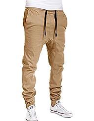 uxcell® Men Drawstring Elastic Waist Mock Fly Harem Pants