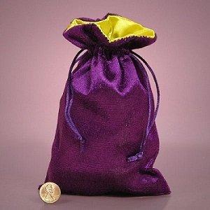 Purple Velvet and Marigold Satin Tarot/rune Bag.
