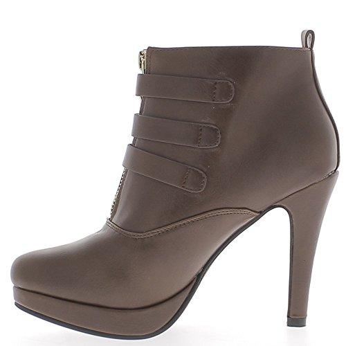 Botas a mujer marrón tacón de 10cm y plataforma 3 bridas finas - 41 KspbsQi