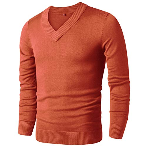 LTIFONE Mens Casual Slim Comfortably Knitted Long Sleeve V-Neck Pullover Sweaters (Orange,S)