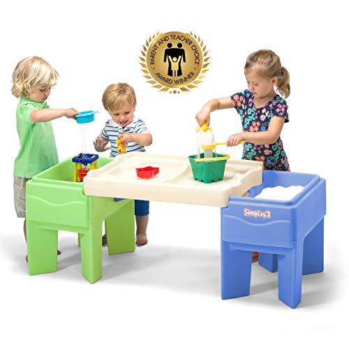 Simplay3 Kids Indoor Outdoor Sand and Water Activity Table with Storage