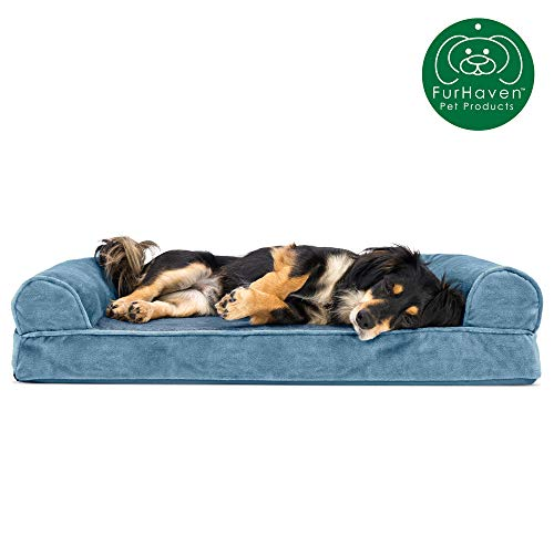 Furhaven Pet Dog Bed | Orthopedic Faux Fur & Velvet Traditional Sofa-Style Living Room Couch Pet Bed w/ Removable Cover for Dogs & Cats, Harbor Blue, Medium from Furhaven