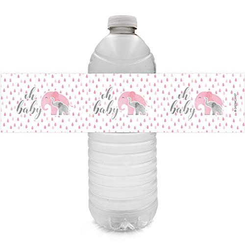 Pink Elephant Baby Shower Water Bottle Labels, 24 Stickers